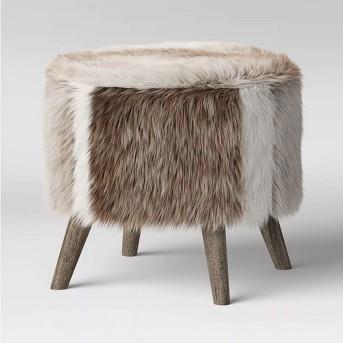 Judith Faux Fur Ottoman - Threshold™