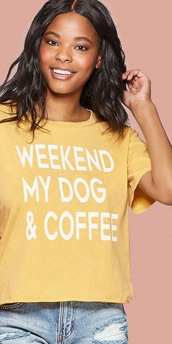 Women's Short Sleeve Weekend, My Dog & Coffee Graphic T-Shirt - Grayson Threads (Juniors') - Yellow