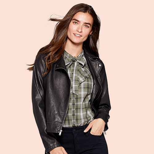 Women's Faux Leather Moto Jacket - Universal Thread™ Black