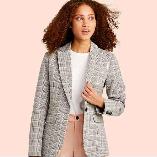 Women's Plaid Long Sleeve Blazer - A New Day™ Gray