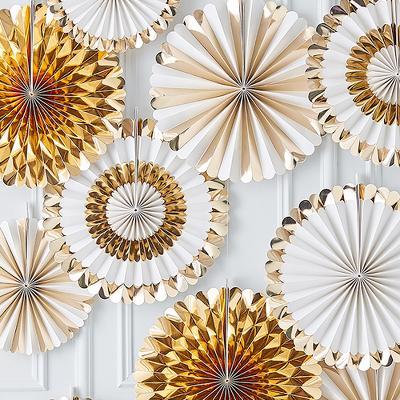 Fan Decorations Backdrop Gold