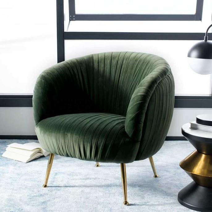 Ottillia Shell Accent Chair Olive Green - Safavieh