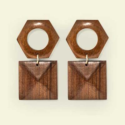 Wood Earrings - A New Day™ Brown/Gold