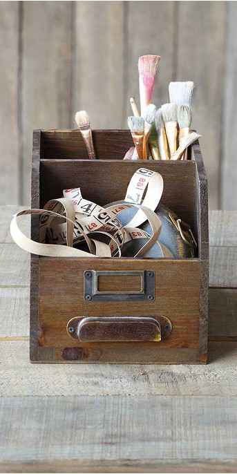 Wood Bin with 2 Compartments - 3R Studios
