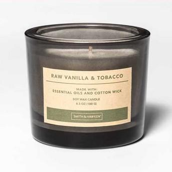 7oz Thick Glass Jar Candle Raw Vanilla & Tobacco - Smith & Hawken™