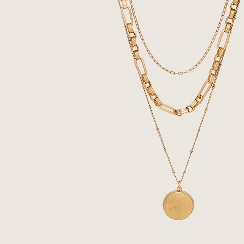 Disc Charm and Chain Layered Necklace - Universal Thread™ Gold
