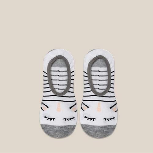 Women's Unicorn 3pk Liner Socks - Xhilaration™ White/Peach/Black 4-10