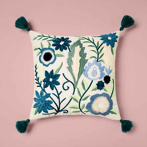 Square Embroidered Floral Pillow With Tassels - Opalhouse™