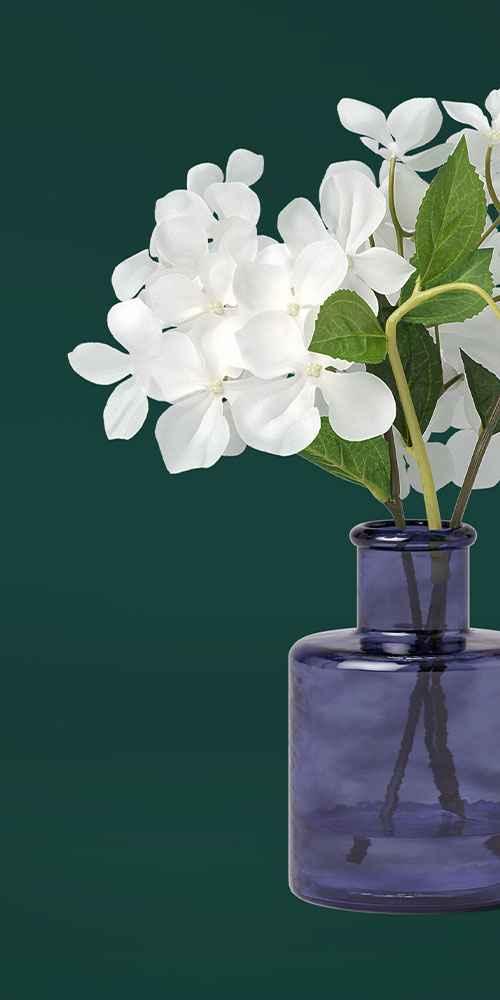"""11"""" x 10"""" Artificial Hydrangea Arrangement in Glass Vase White/Blue - Threshold™"""