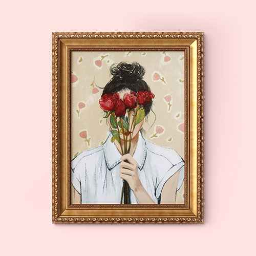 """16"""" x 20"""" Portrait with Roses Framed Wall Canvas - Opalhouse™"""