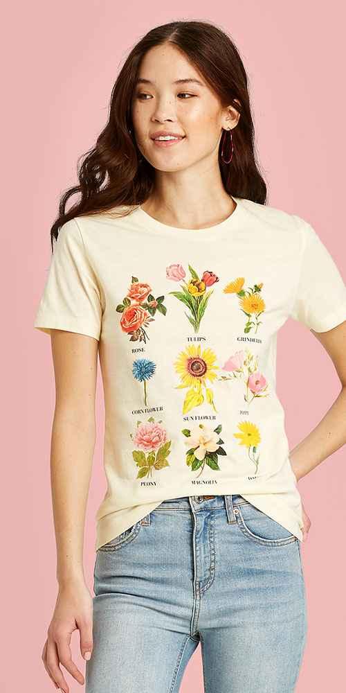Women's Botanical Flowers Short Sleeve Graphic T-Shirt - Fifth Sun (Juniors') - Regular & Plus Beige