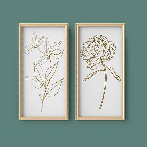 """(Set of 2) 12"""" x 24"""" Floral Line Drawing Framed Canvas - Opalhouse™"""