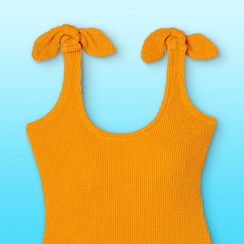 Women's Pucker Textured One Piece Swimsuit - Kona Sol™ Yellow XS