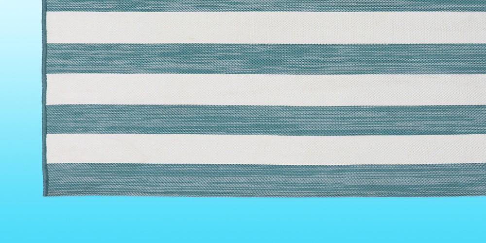 6'x9' Outdoor Rug Worn Stripe Turquoise - Threshold™