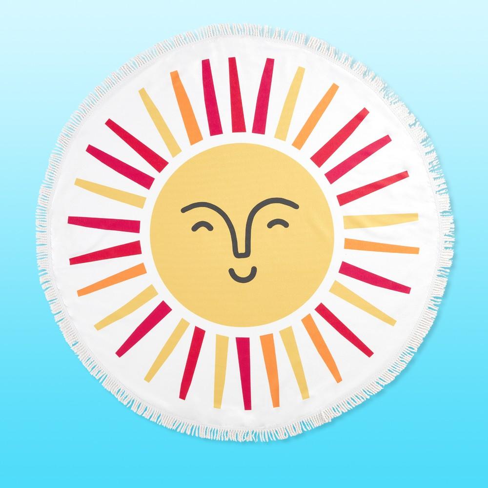 Sun Digital Printed Microfiber Round Beach Towel with White Fringe - Mudd