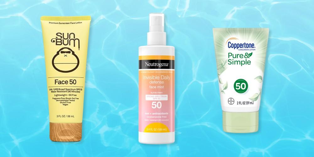 Sun Bum Face Lotion - 3 fl oz, Neutrogena Invisible Daily Defense Sunscreen Face Mist - SPF 50 - 3.4 fl oz, Coppertone Pure and Simple Botanicals Faces Sunscreen Lotion- SPF 50 - 2oz