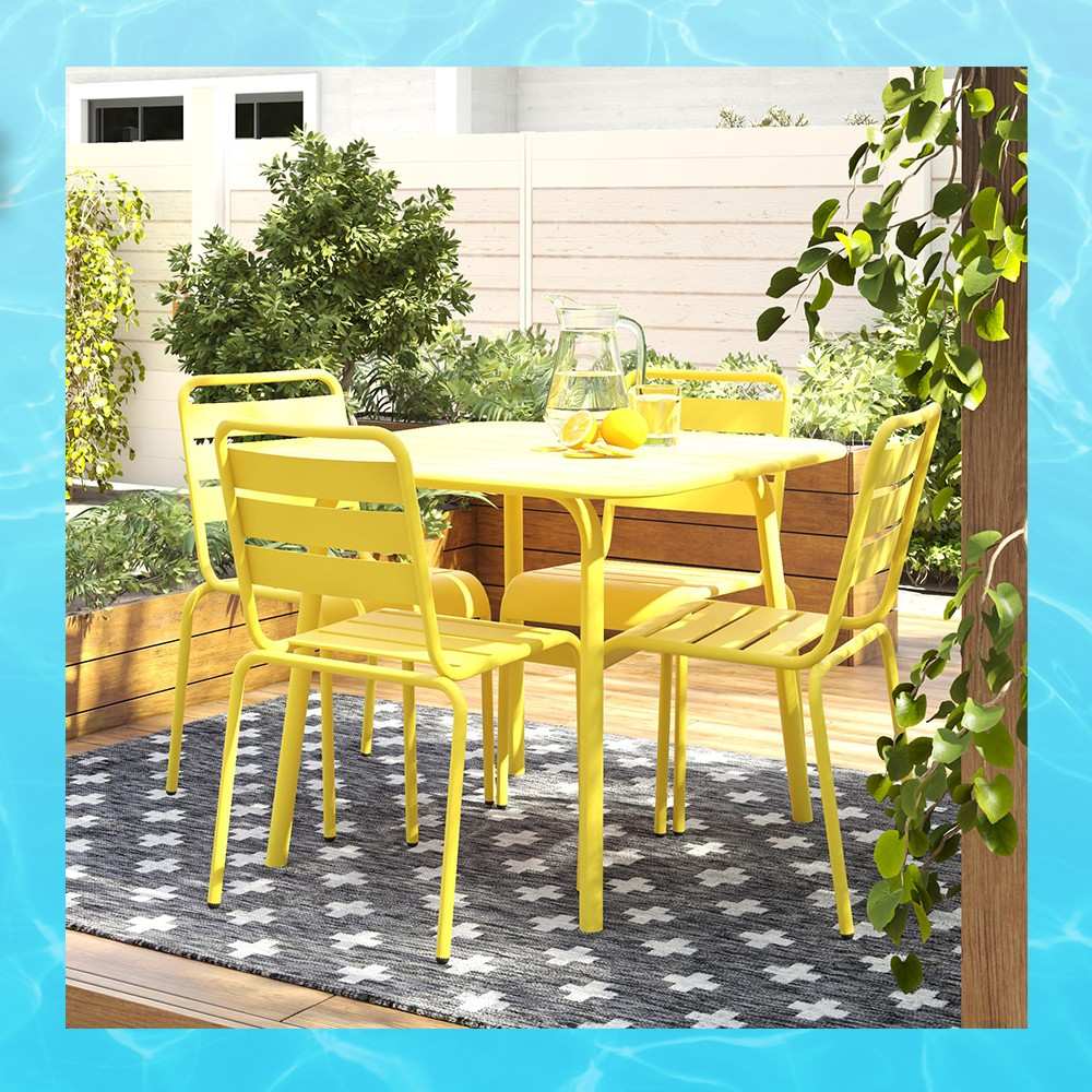 June Square Patio Dining Table - Yellow - Novogratz, June 4pk Outdoor Stacking Chairs - Yellow - Novogratz