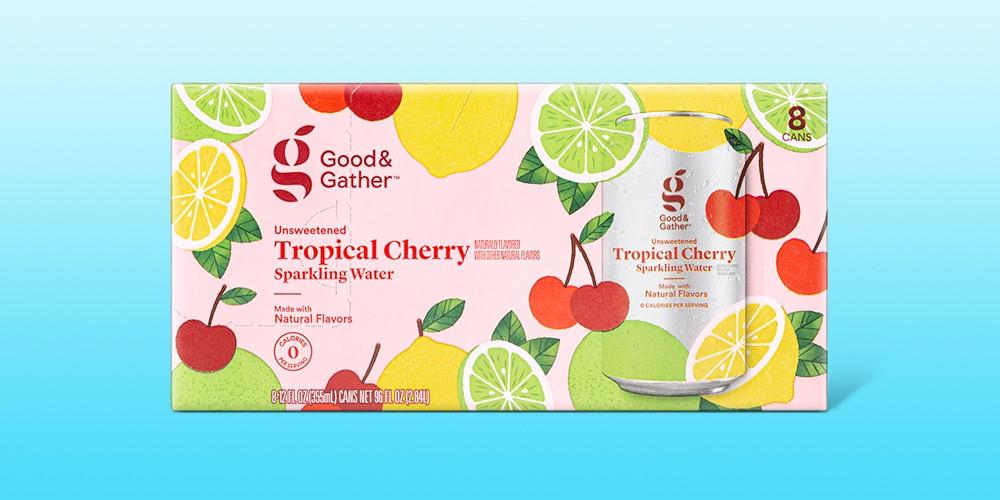 Tropical Cherry Sparkling Water - 8pk/12 fl oz Cans - Good & Gather™, Strawberry Mango Sparkling Water - 8pk/12 fl oz Cans - Good & Gather™, Raspberry Hibiscus Sparkling Water - 8pk/12 fl oz Cans - Good & Gather™