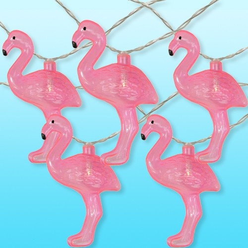 Northlight 10ct Battery Operated Flamingo Summer LED String Lights Warm White - 4.5' Clear Wire