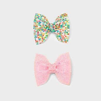 Girls' 2pk Glitter Bow Salon Clips - Cat & Jack™