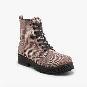 Women's Dayton Plaid Combat Boots - Wild Fable™ Gray