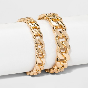 Thick Chain Bracelet Set 2ct - Wild Fable™ Gold