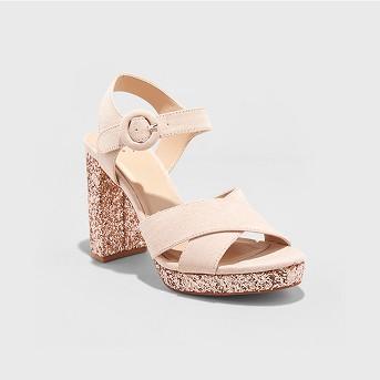 Women's Fiona Glitter Satin Crossband Platform Quarter Strap Sandal - A New Day™