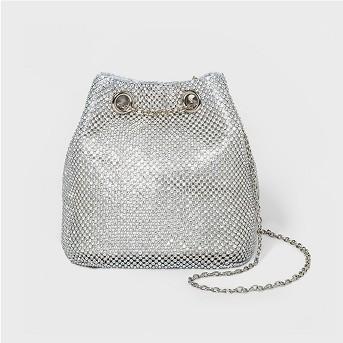 Estee & Lilly Crystal Bucket Bag Clutch - Silver