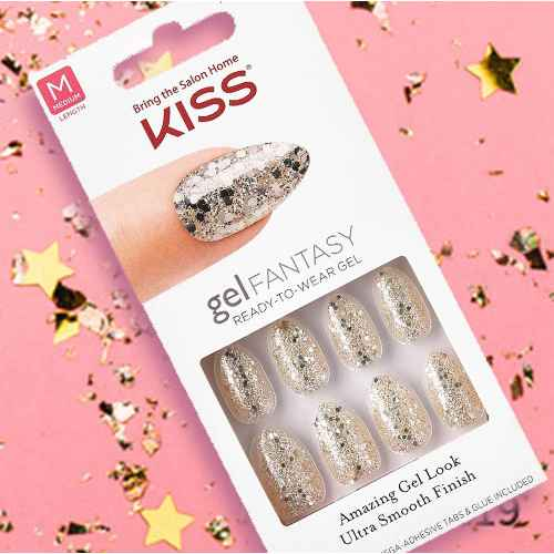 Kiss Gel Nails Faux Real Silver Sparkles - 24ct