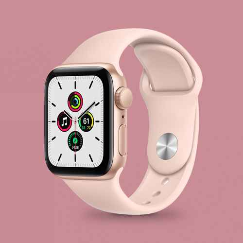 Apple Watch SE GPS, 44mm Gold Aluminum Case with Pink Sand Sport Band