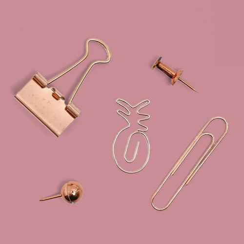 Paper Junkie 126-Pack Rose Gold Tropical Pineapple Small Paper Clips and Binder Clips Set Push Pins for Office