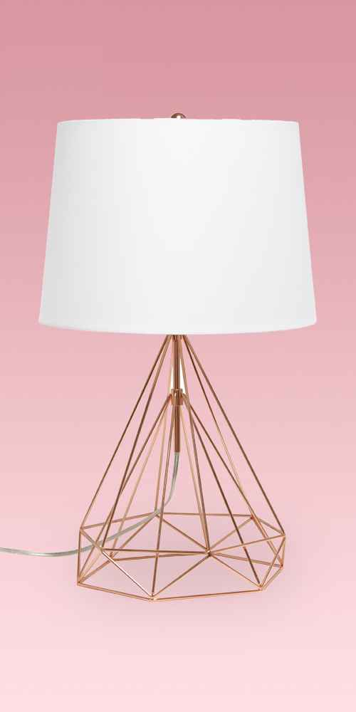 Geometric Wired Table Lamp with Fabric Shade Rose Gold - Lalia Home