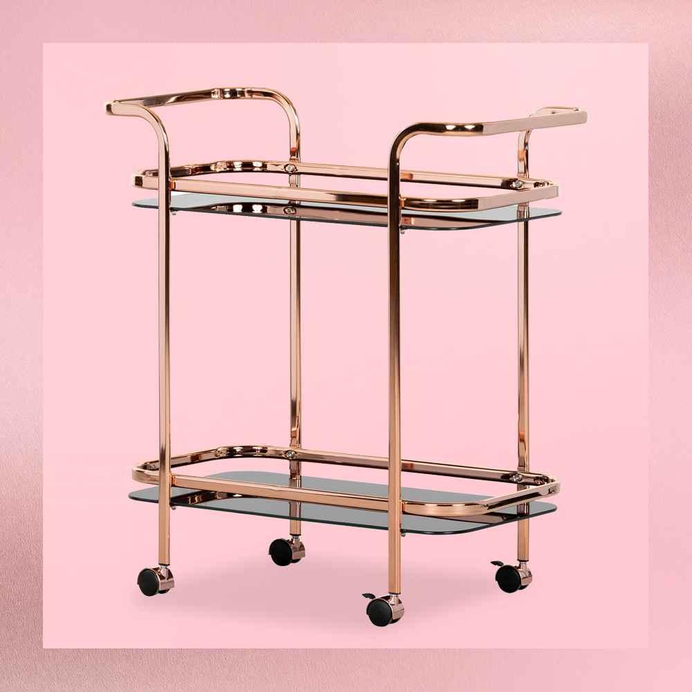Maliza Bar Cart Rose Gold - South Shore