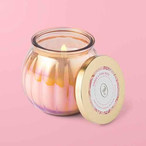 14oz Lidded Sand Depression Glass Jar Amber and Pink Rose Candle - Opalhouse™