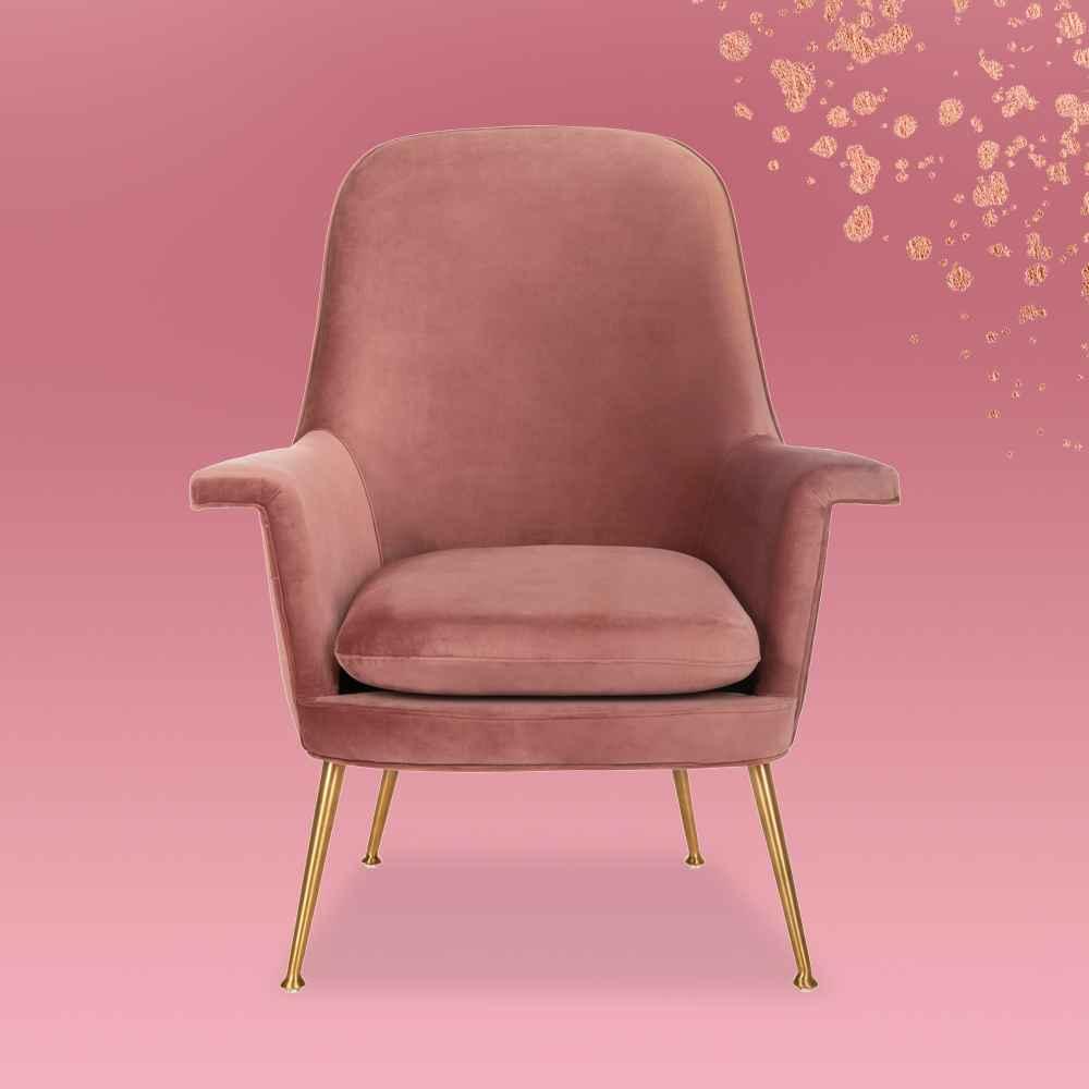 Aimee Velvet Armchair Dusty Rose - Safavieh