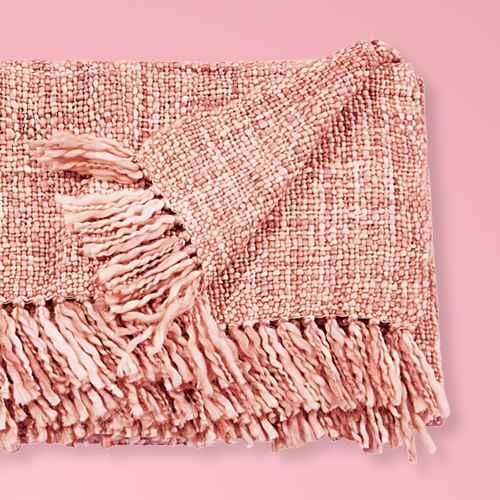 "50""x60"" Basket Weave Throw Blanket Pink - Mina Victory"
