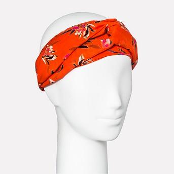 Women's Floral Print Twist Front Headband - A New Day™ Orange One Size
