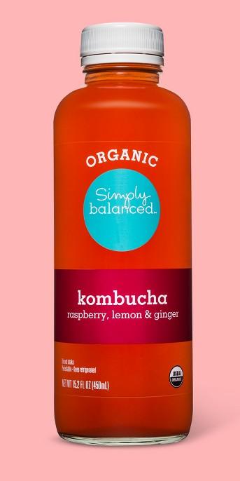 Organic Lemon Ginger Raspberry Kombucha 15.2oz - Simply Balanced™