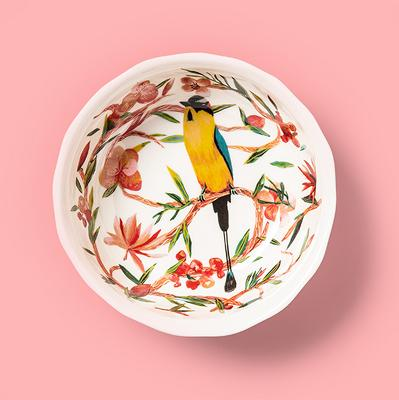 31oz Melamine Bird Print Dining Bowl Pink - Opalhouse™