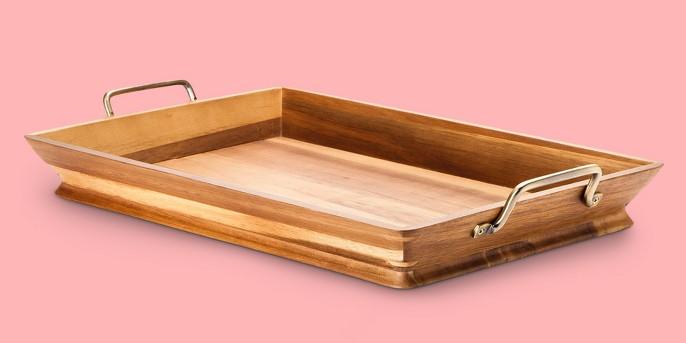 Acacia Tray with Metal Handles - Threshold™