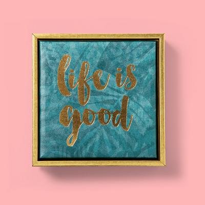 "6""X6""""Life Is Good"" Foil Embellished Framed Wall Canvas Teal - Opalhouse™"