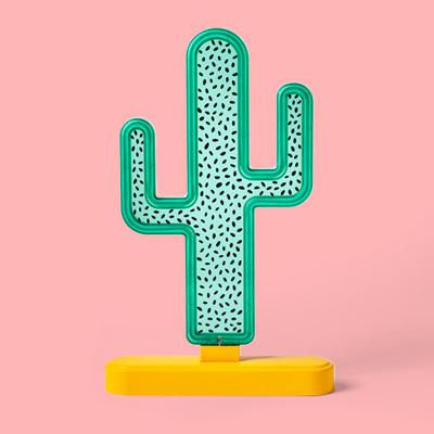 Faux Neon Tabletop Cactus Sign - Sun Squad™