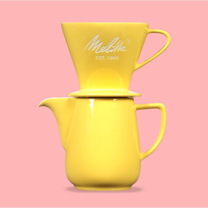 Melitta Porcelain Pour-Over Carafe Set with Cone Brewer and Carafe