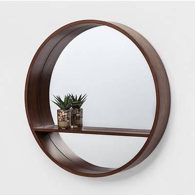"./4"" Walnut Round Barrel Decorative Wall Mirror with Shelf Brown - Project 62™"