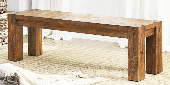 Sun & Pine Sturdy Wooden Dining Bench Wood/Dark Oak