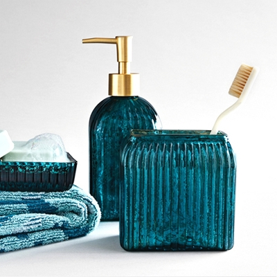 Glass Soap/Lotion Dispenser Teal Blue - Opalhouse™, Glass Toothbrush Holder Teal Blue - Opalhouse™, Glass Soap Dish Teal Blue - Opalhouse™, Ikat Border Fringed Towel Teal Blue - Opalhouse™