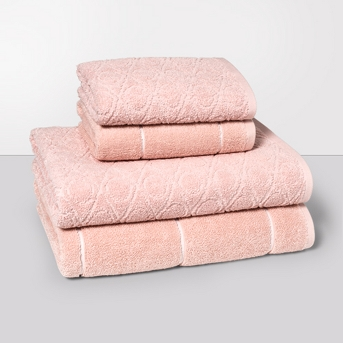 Woven Pattern Bath Towel Set Peach - Project 62™