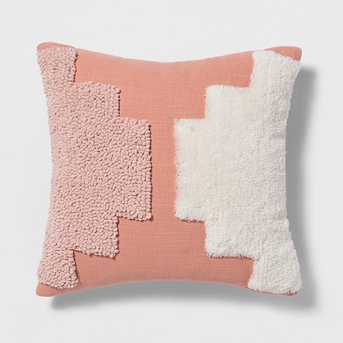 Tufted Square Throw Pillow Coral + Nate Berkus  - Project 62™