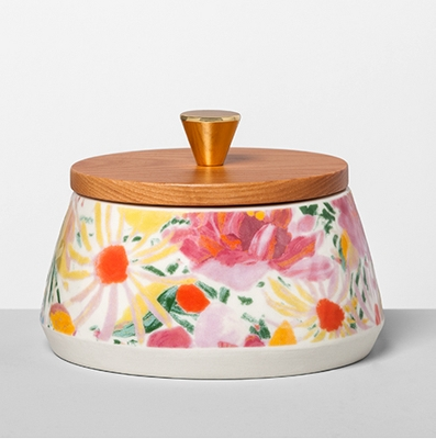 Floral Stoneware Canister with Wood Lid Pink - Opalhouse™