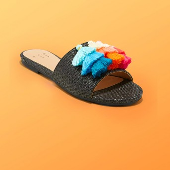 Women's Ayana Raffia Tassle Slide Sandals - A New Day™